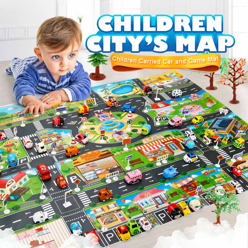Nordic Traffic Highway Map Baby Play Mat Educational Developing Children's Rug <font><b>130*100CM</b></font> Gym Games Carpet With Alloy Car Toy image