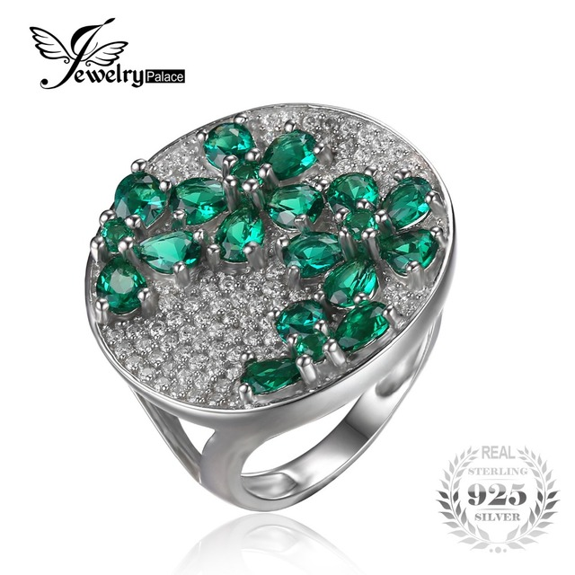 JewelryPalac Green Nano Russian Emerald Ring Cocktail Genuine Pure Solid 925 Sterling Silver Wholesale Fashion Vintage For Women