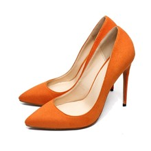 Big Size 4-13.5 High Heel Shoes Kid Suede Leather Women Shoes Pumps 12 CM Pointed Toe Genuine Leather Party Shoes C003A fedonas new women high heel fashion pumps genuine leather round toe full season shoes woman pumps buckles party shoes big size