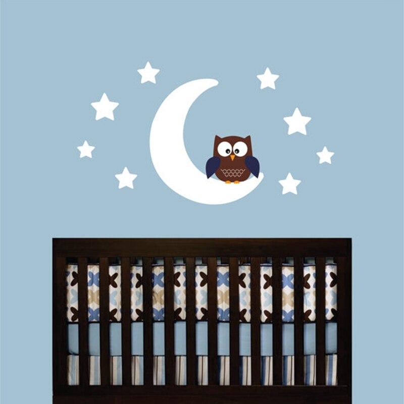 Бесплатная доставка Diy Сова на Луне и звезде виниловая наклейка на стену-детская комната Сова дизайнерская Настенная картина украшение для ...