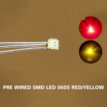 DT0605RY 20ピース事前ハンダ付けリッツ有線リード2色レッド/イエローsmd led 0605新しい