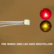 DT0605RY 20 pc wstępnie lutowane litz przewodowe prowadzi Bi kolor czerwony/żółty SMD Led 0605 nowy