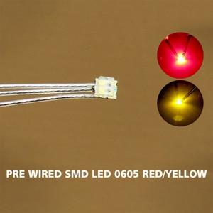 Image 1 - DT0605RY 20 pc wstępnie lutowane litz przewodowe prowadzi Bi kolor czerwony/żółty SMD Led 0605 nowy