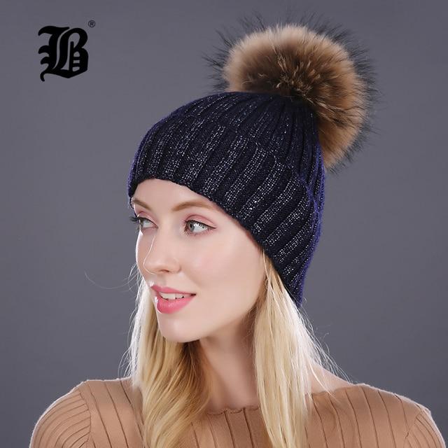 FLB  invierno señora sombrero Cap gorros chica pompones de piel y lana  sombrero rhinestone 5ca6ba8b6b5f