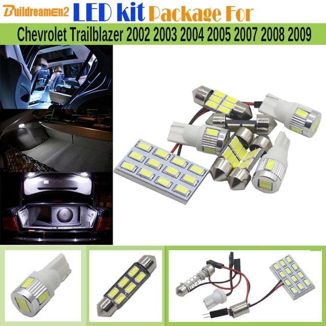 Buildreamen2 8 X Car Interior Led Bulb 5630 Chip Kit Package White Trunk Dome Map Light For Chevrolet Trailblazer 2002 2009