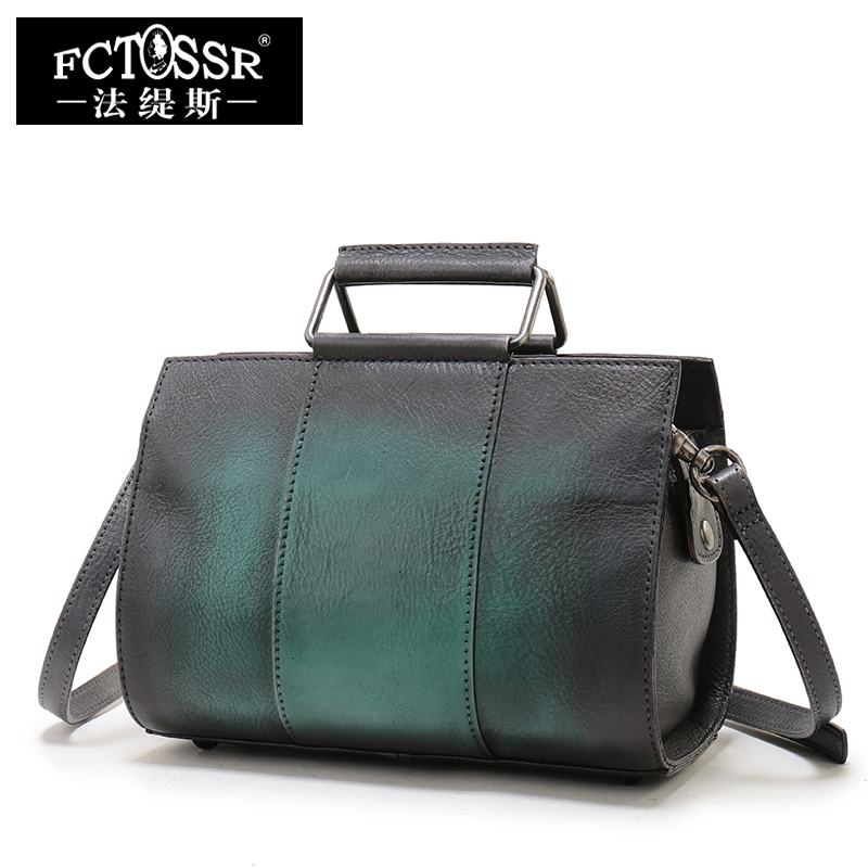 2018 Cowhide Handbags Shoulder Bags Handmade Vintage Ladies Messenger Bags 100% Genuine Leather Shell Hand Bags women genuine leather handbags ladies personality new head layer cowhide shoulder messenger bags hand rub color female handbags