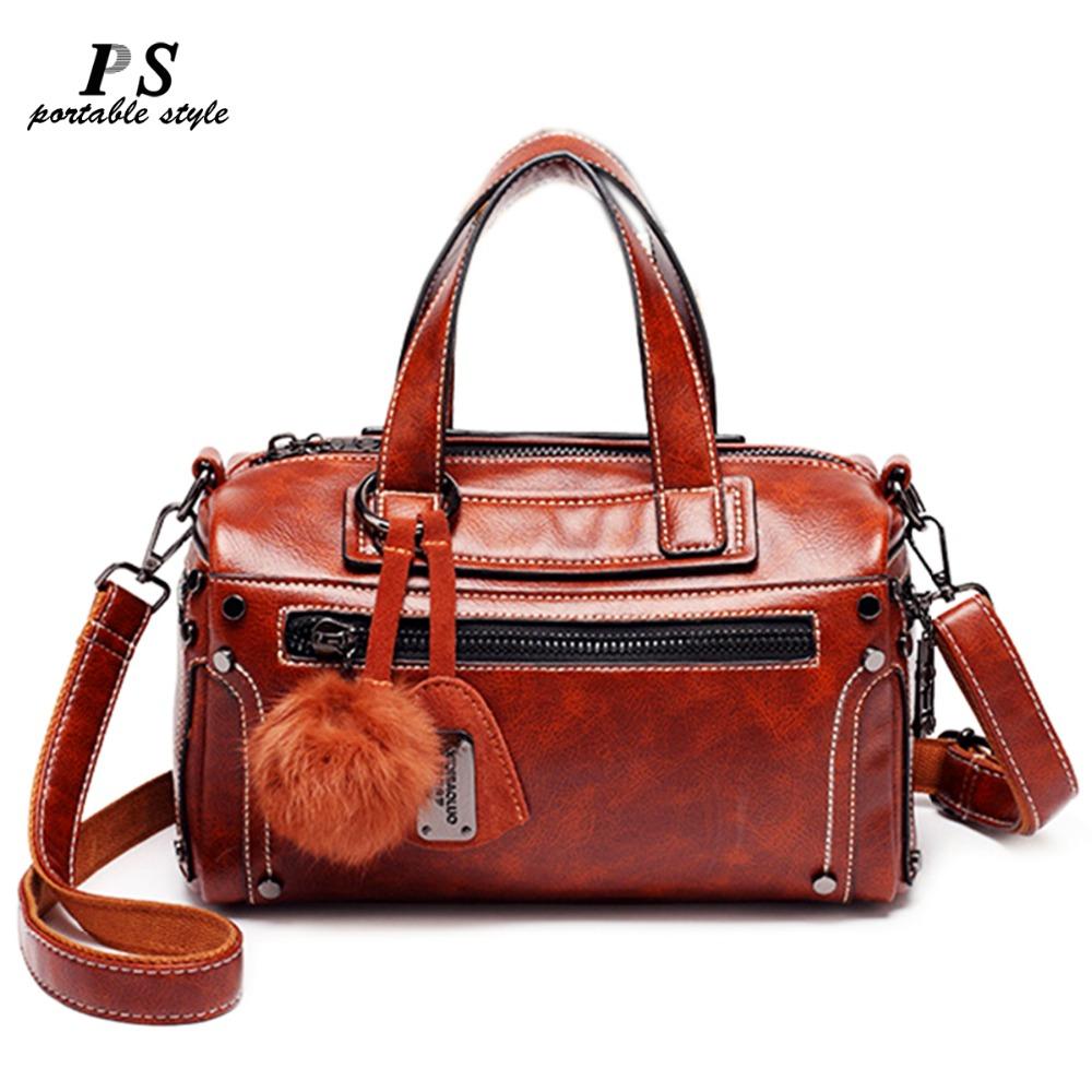 2019 Luxury Handbags Women Bags Designer Female 100% Genuine Leather Messenger Bags Vintage Casual Tote Shoulder Bag For Girls B