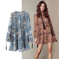 Chiffon Dress santa rosa women bohemian summer floral print long sleeve sexy dress casual design hippie chic women clothing 2017