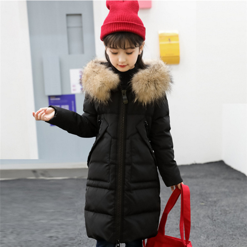 2017 New Down Jackets For Girls  Winter Coat Fashion Thick Warm Solid Big Fur Collar Jacket For A Girl Outerwear High Quality 2017 new high quality big fur collar women long winter cotton padded coats female warm jacket large size parka outerwear qh0882