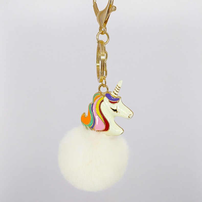 KeyChain unicórnio-Moda Pingentes Cavalo Chaveiro 5 cm Pom da Pele Do Falso Pom Sacos Pingente de Chave Anel Chave de Cadeia para mulheres jóias K1662