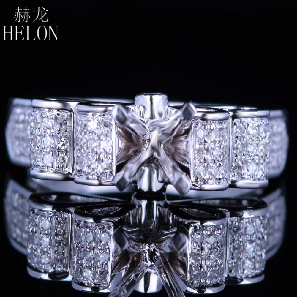 HELON Solid 10kt White gold 5.5-6.5mm Round Cut Pave Genuine Natural Diamonds Jewelry Semi-Mount Engagement Wedding Fine Ring