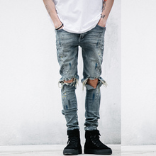 NEW Fashion Style street mens destroyed jeans hole casual splash ink pants ankle cool jogger damage