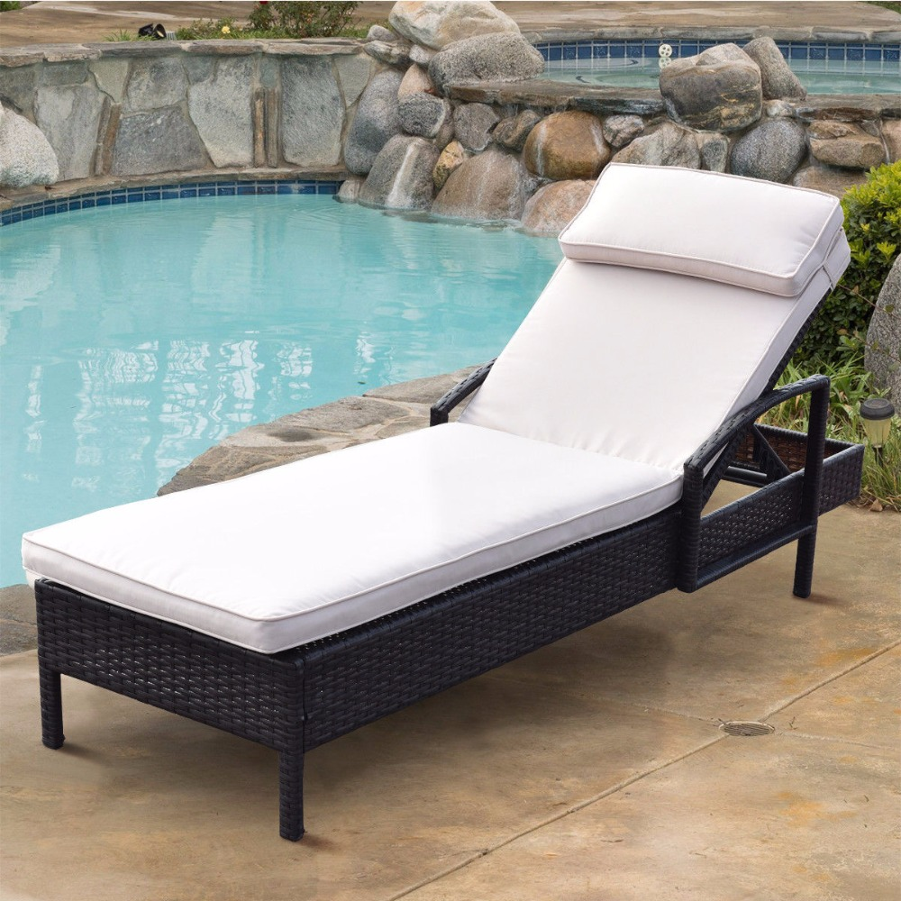 Giantex Chaise Lounge Chair Brown Outdoor Wicker Rattan