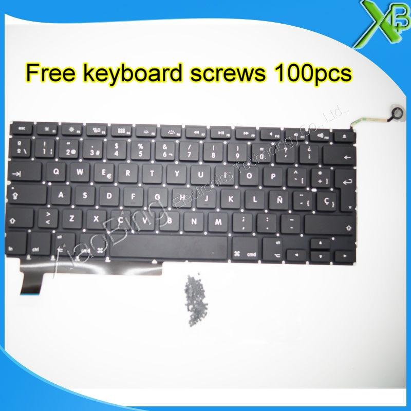 Brand New SP Spanish keyboard 100pcs keyboard screws For MacBook Pro 15 4 A1286 2009 2012