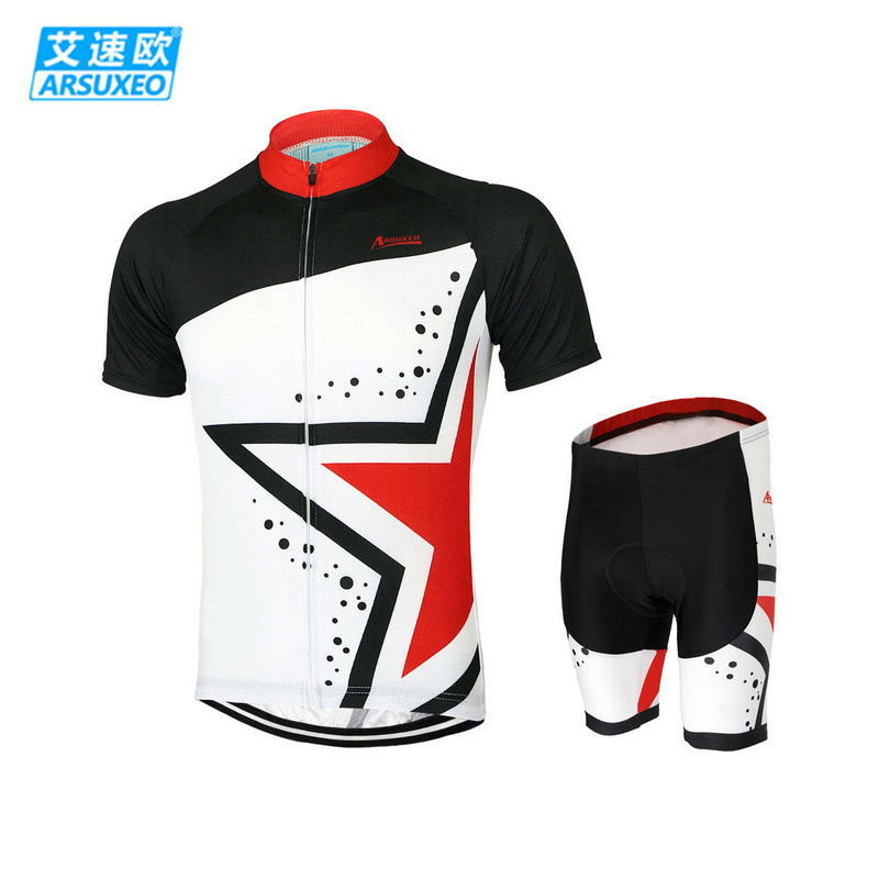 ARSUXEO Mens Summer Bike Bicycle Cycling Clothing Set Short Sleeves Jersey + 3D Coolmax Padded Shorts Breathable Quk Dry Suit