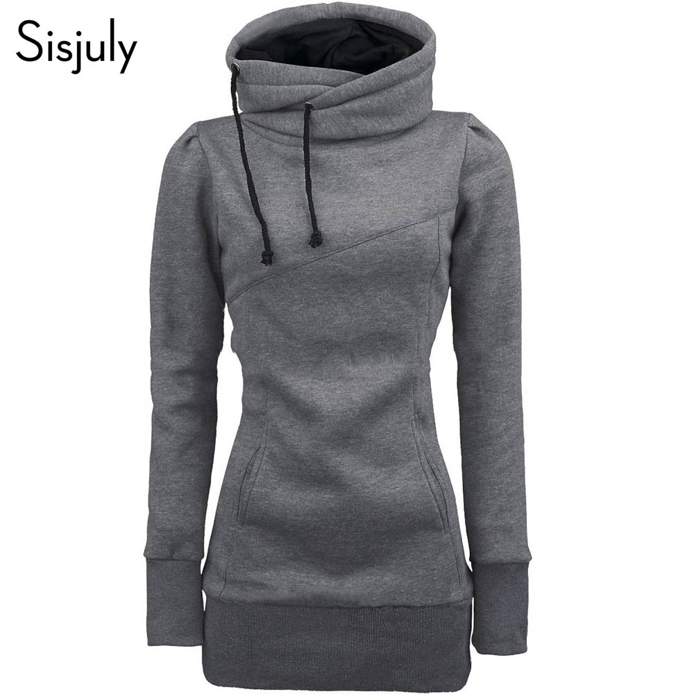 Sisjuly women hoodie sweatshirt solid hooded long sleeve pullover hoodies drawstring plus size 4XL fashion female spring hoodie(China)