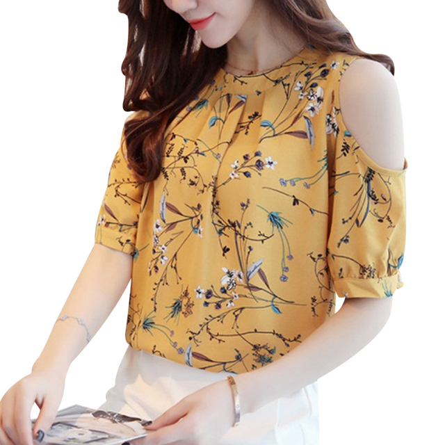 f4951e71819 Elegant Cold Shoulder Chiffon Blouse Women Floral Printed Short Sleeve Tops  2018 Summer Ladies Plus Size