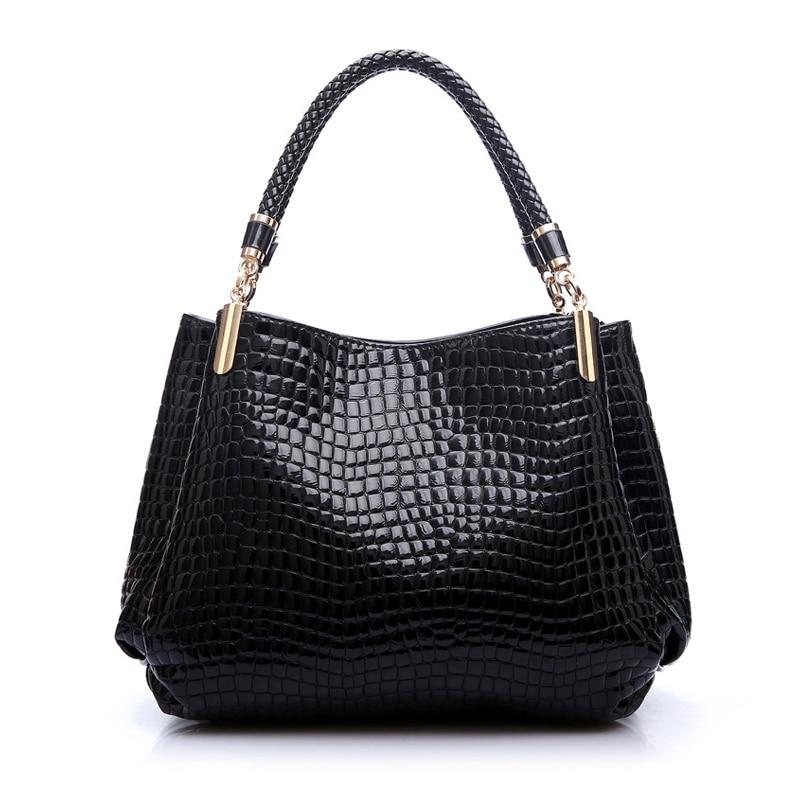 2017 Alligator Leather Women Handbag Bolsas De Couro Fashion Famous Brands Shoulder Bag Black Ladies Femininas Sac