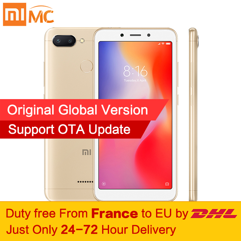 Tax Free! Глобальная версия Xiaomi Redmi 6 3 ГБ 32 ГБ смартфон МТК Helio P22 Octa Core 5,45 полный Экран 12MP + 5MP AI двойной Камера CE