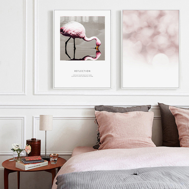 Abstract Flamingo Canvas Paintings Nordic Pink Posters And Prints Wall Art Pictures For Girls Kids Bedroom