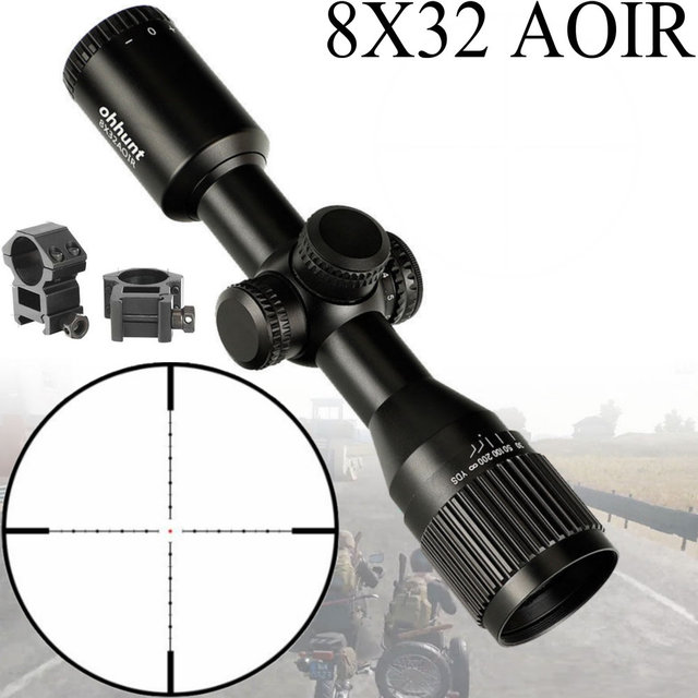 8X32 AOIR Compact Hunting Tactical Riflescopes Mil Dot Illuminated Glass Etched Reticle Turrets Reset Hunting Optics Rifle Scope