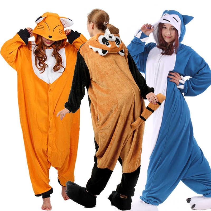 ef048d04ee59b Romper Nightwear Adult One Piece Cartoon Animal Raccoon Unisex Onesie Red  Panda Pajamas SetsCostumes Sleepwear Christmas Cosplay