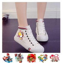 Mario Bros Super Spring New Flat Casual Shoes Handmade Printed Canvas Womens A193161
