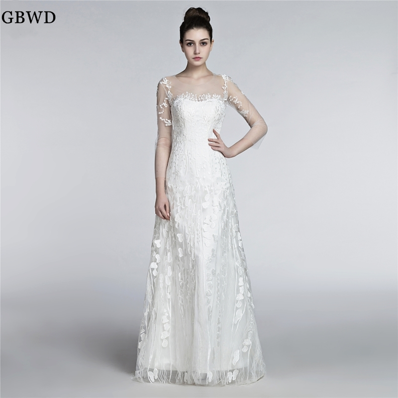 White A Line Wedding Dresses 2019 Fashion Customized Gauze