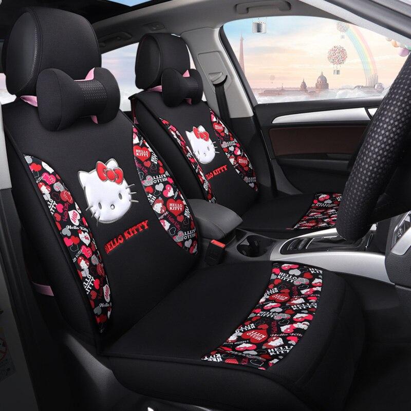 Sede di automobile del fumetto copre carino ciao gattino auto sedili cuscini set di quattro stagioni cuscino auto universale per tutte le vetture per lo styling modello