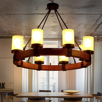 American Retro Industrial Led Hanging Lights E27 6 8 Heads Round Shape Candle Wooden Lamp A84