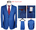 2016  Men's Single-breasted Bussiness Suit Brand Wedding Suit Sky Blue (coat+pants) size S-3XL