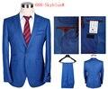 2016 dos homens Single-breasted Bussiness Terno Do Casamento Marca Céu Azul (casaco + calça) tamanho S-3XL