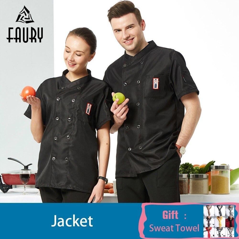 Chef Jacket Restaurant Kitchen Work Clothes Women Men Chef Waiter Uniform Cooking Shirt Chaqueta Blanca Hombre Free Scarf Gift