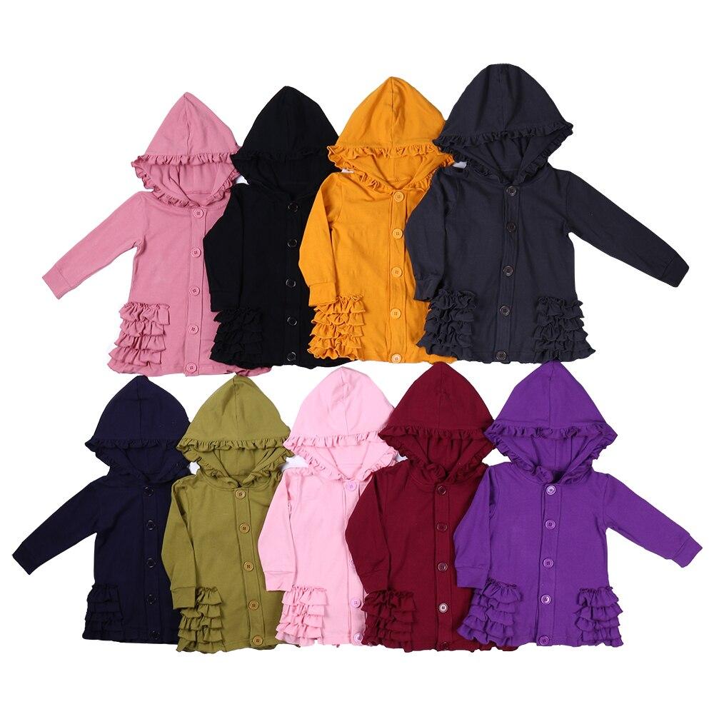 MUDBALA Boutique Toddler Teen Girl Ruffle Hooded Jacket Western Girl 100 Cotton Blank 5-layer Ruffled Spring Fall Coat