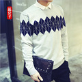 2016 New Mercerized Cotton Sweaters Men Crewneck Long-Sleeve Knit Shirt High Quality Men's Wool Tops  Knitwear Fashion Sweaters