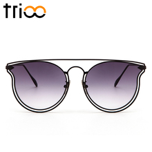 TRIOO Transparent Clear Lens Oculos Gradient Pink Sunglasses Women Pilot Gold Metal Sun Glasses Female Flat Mirror Color Lunette