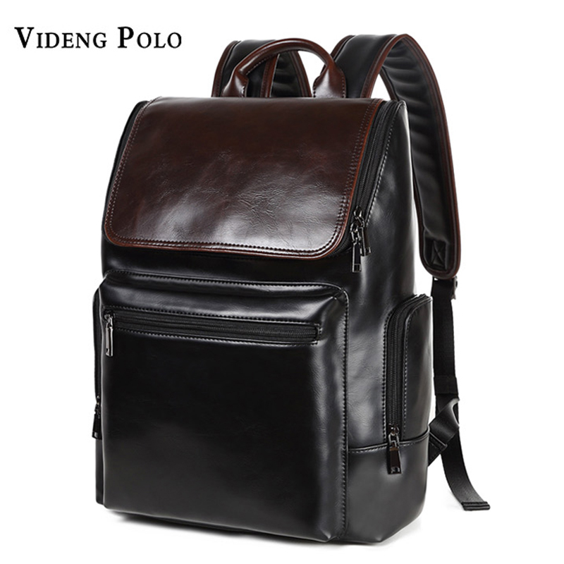 VIDENG POLO Men Bag New Brand Leather Casual Man Laptop Backpack Fashion Satchel Male College Students School Bag Travel Mochila backpack fashion brand travel sports laptop for women and man school bag