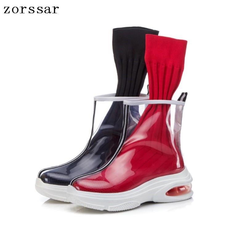 {Zorssar} fashion Transparent boots women summer 2019 New women Ankle Rain Boots women Stretch socks boots Young womans shoes 7 led headlights bulb rgb halo angel eye with bluetooth remote for 1997 2016 jeep wrangler jk lj cj hummer h1 h2 headlamp