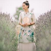Summer New Retro Art Silk Linen Dress Woemn Gown Vintage Short Sleeve Casual Stand Chinese Style Bird Print Dress
