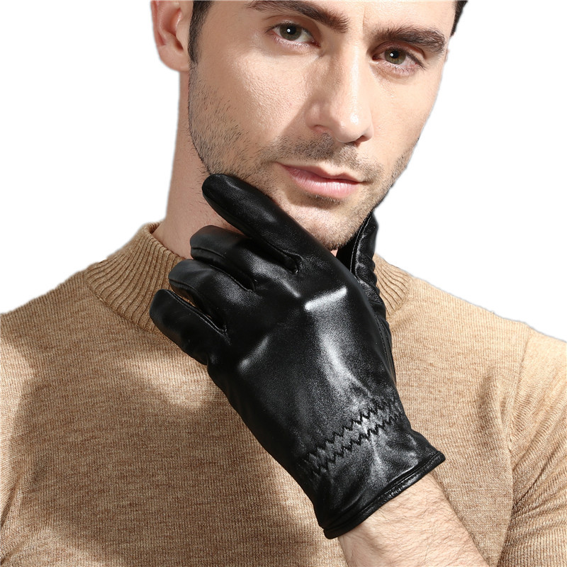 Men/'s Black Winter Touch Screen Driving Gloves Genuine Leather Wool Wrist M L XL
