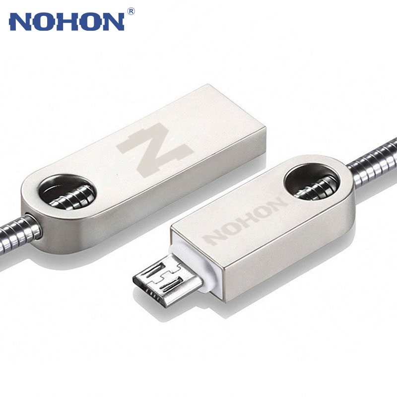 NOHON Micro USB Cable Fast Charging For Samsung Xiaomi Huawei HTC Android Mobile Phone Zinc Metal Cable Data Sync Charger Cable|Mobile Phone Cables|   - AliExpress