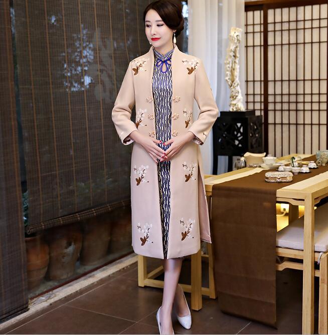 Новое поступление осень зима Китайская традиционная Женская 2 шт Qipao шерсть чеонгсам Новинка китайское торжественное платье Размер M L XL XXL - Цвет: 1896