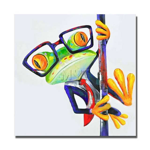 Glasses Frog Painting No Framed And With Framed Canvas