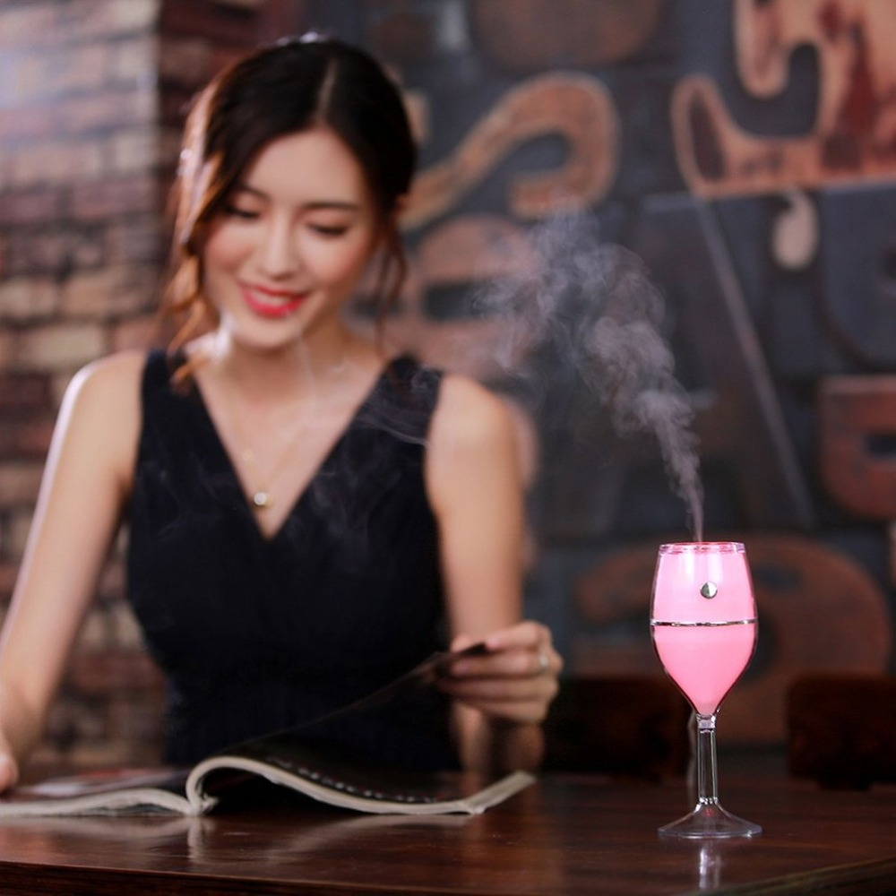 80ml Air Humidifier Red Wine Cup USB Colorful Night Lamp No Noise Mini Portable Air Cleaner for Home Car Use