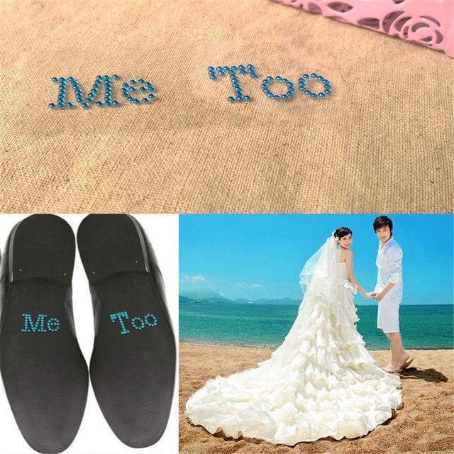 d3fa529dc Hot Sale 1 Set I Do Me Too Bridal Groom Shoe Sticker White Clear Rhinestone  Wedding Decor Free Shiping