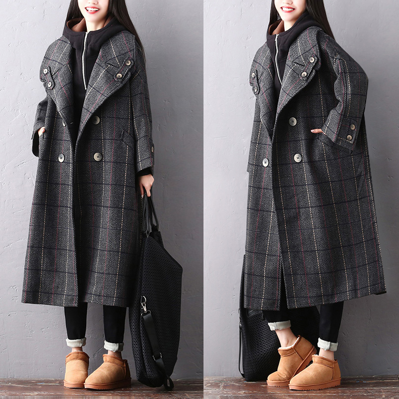 Clearance--2018 Female New Spring And Winter Plus Size Literary Double-breasted Plaid Wild Long Casual Bat Sleeve Wool Coat