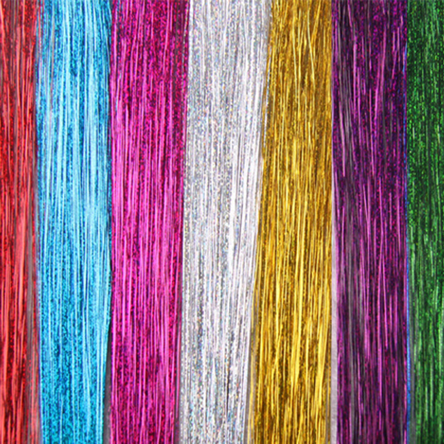 1 Bags Hair Tinsel Sparkle Glitter Extensions Highlights False hair Strands Party Accessories  For Girls Party 8 Colors
