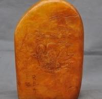 Бесплатная доставка Старый Китай Шушан Tianhuang Камень Жаждал Будды Гуаньинь Статуя Крана Печать Штамп