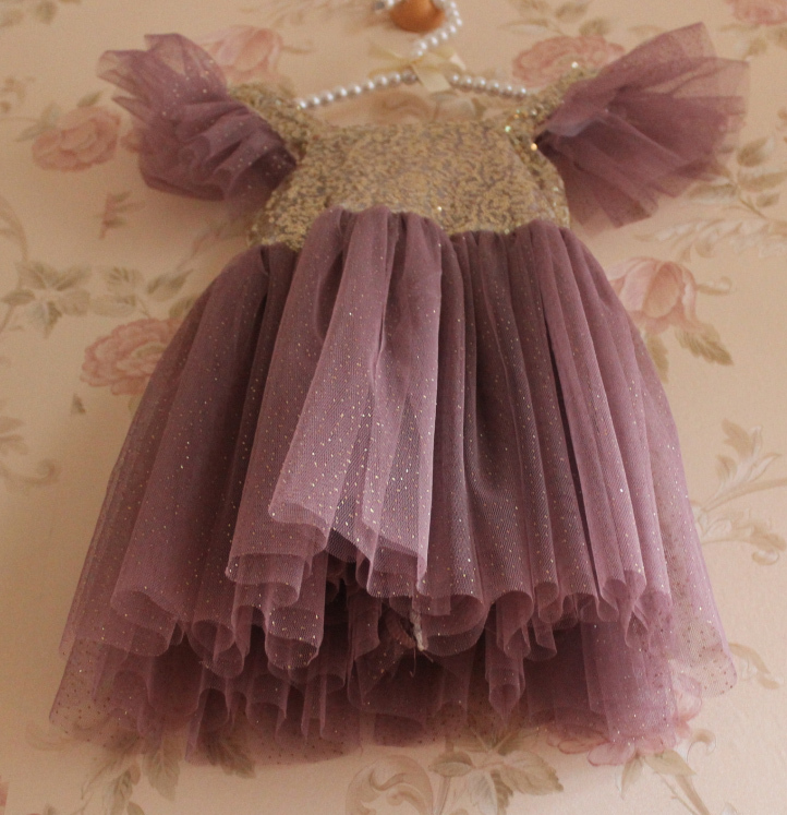 2016 Hot Summer Sequined Puff Sleeve Purple Mesh Tutu Dresses For Girls, Kids Fashion Clothing, 5pcs/lot