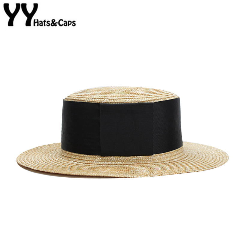 Fashion Straw Beach CAP Women Wide Black Ribbon Sunhats Summer New Sun Visor CAP Natural Color Straw Jazz CAP Flat Top YY18069